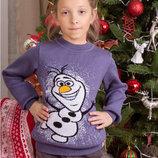 свитер детский джемпер новогодний Олаф, снеговик, с104-122