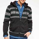 серая мужская кофта De Facto с на молнии с капюшоном и карманами