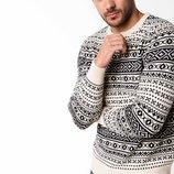 Серебристый мужской свитер De Facto с черными рисунками