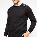 Ярко-Черный мужской свитер De Facto с серыми полосами на плечах