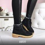 Женские зимние черные ботинки тимберленд