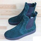 Стильные короткие ботинки челси натуральная кожа р. 36-41