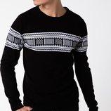 черный мужской свитер De Factoв белый орнамент