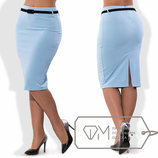 Стильная женская юбка средней длины в больших размерах 195-1 Креп Миди Разрез Поясок в расцветках.
