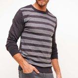 серый мужской свитер De Facto в светло-серые полоски