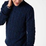 насыщенно-синий мужской свитер De Facto в вязку косичка