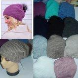 Модные шапки с меховым бубоном на флисе,на небольшую голову 52-56