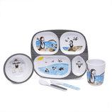 Детский подарочный набор посуды из меламина Knack3 тарелка тарелочка стакан приборы ложка вилка миск