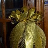 Новогодняя ёлочная Игрушка / шикарный Декор- большой Шар со звёздной короной и бантом