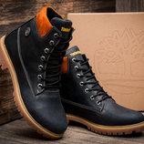 Зимние мужские ботинки Timberland 6 premium, на меху, натуральная кожа, синие,