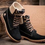 Ботинки Timberland, высокие зимние, унисекс, темно-синие, нубук,