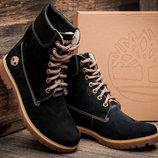 Ботинки Timberland, высокие зимние, женские, темно-синие, нубук