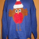 новогодний 3D свитер. сзади удлинён размер 14, пог 54см