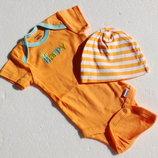 Gerber. бодик с шапочкой. сша. 0-3 месяца оранжевый.
