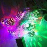 Гирлянда новогодняя Шарики 20 Metal Ball цвет теплый белый и мульти