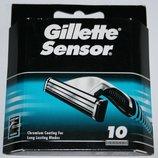 Настоящие оригинальные сменные картриджи Gillette Sensor упаковка 10 штук