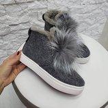 Демисезонные и зимние женские слипоны / ботинки из валяной шерсти 36,37,38,39,40,41