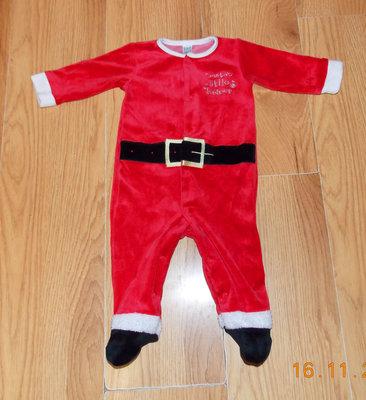 Новогодний велюровый человечек Санта Клаус для малыша 3-6 месяцев, 68 см