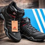Зимние кроссовки Adidas Fastr TEX, мужские, черные с красным, на меху