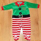 Новогодний велюровый человечек для малыша 3-6 месяцев, 68 см