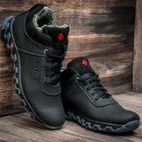 Ботинки мужские зимние на меху, кожаные, черные с серым