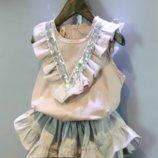 Светлый летний костюм юбка-шорты для девочки, украшенный поетками 2-7 лет