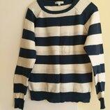 Натуральный свитер кофта бело-синюю полоску Размер М