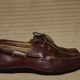 Темно-Коричневые фирменные кожаные топсайдеры Timberland Сша 11 W. 30 см.