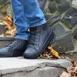 Ботинки мужские кеды кроссовки Forester кожа флис