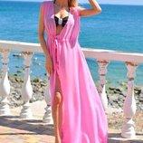 Летний женский длинный шифоновый сарафан-туника Пляжный-1 в расцветках.