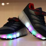 Кроссовки ролики с подсветкой, синие