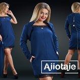 Платье с вырезом Анжелика в комплекте с болеро. Размеры 48, 50, 52, 54.