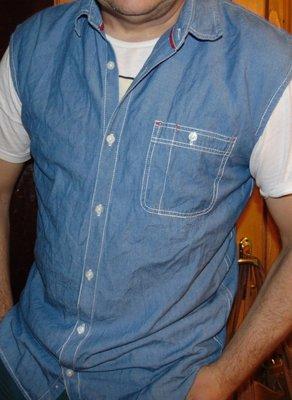 Стильная брендовая джинсовая безрукавка рубашка Salt Rock л- хл.