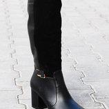 Женские кожаные Демисезонные сапоги