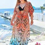 Женская длинная пляжная туника в больших размерах 8056-6 Гепард Фэнтези .