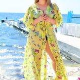 Женская длинная пляжная туника в больших размерах 8056-14 Бабочки в расцветках.