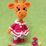 Вязаный жираф. Мягкая игрушка ручной работы вязаный жираф. Жирафик