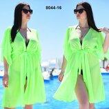 Женская стильная пляжная туника в больших размерах 8044- 12-26 Шифон Завязка Мини в расцветках