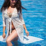 Женская длинная пляжная туника в больших размерах 1109 Гипюр Макси в расцветках.