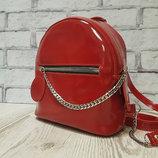 Рюкзак Шайн натуральная кожа,красный лак