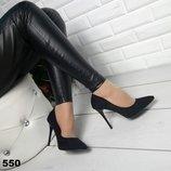 Женские черные туфли лодочки замшевые