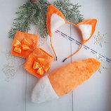 Костюм лисички из меха , уши, хвост, перчатки ручной работы, Киев