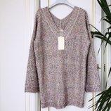 Свитер пуловер объемный крупная вязка люрекс цветной травка Польша люкс S/M/L/XL бежевый
