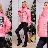 Женская стильная зимняя куртка на синтепоне 077 Плащёвка Косуха Нашивки Стразы в расцветках.