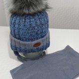 Зимний комплект шапка с помпоном и шарф Польша Качественный Классный