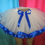 Много цветов Фатиновая юбка пачка Ту-Ту с атласной лентой