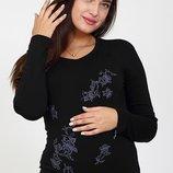 Облегающий лонгслив для беременных с начесом , черный