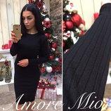Лаконичное платье Ангора-Рубчик Чёрное