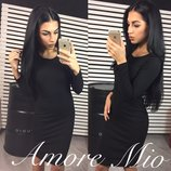 Лаконичное платье футляр Ангора-Рубчик Чёрное до колен длинный рукав классическое от р40 по р46