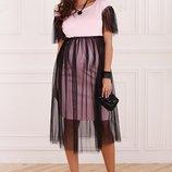 Красивое платье для беременных и кормящих мам, розовое с черным